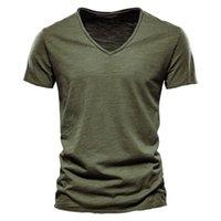 Erkek T-Shirt V Yaka Moda Tasarım Slim Fit Sosild Yeşil T-Shirt Gevşek Tops Tees Korte Mouw T-shirt Kadınlar