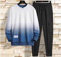 New Men Set Solid Patchwork Autumn Men's Sportswear Tracksuits Hoodies+Pants 2PCS Sets Hip Hop Streetwear Loose Sweatsuit