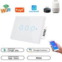 Wifi Akıllı Dokunmatik Anahtarı Hiçbir Nötr Tel 110 V220 V TUYA APP Uzaktan Kumanda Alexa Ses Kontrolü Duvar Interrupter Işık Anahtarı