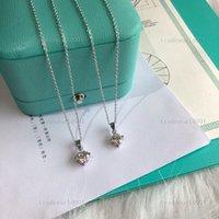 Tiffany necklace 2021 최신 단일 돌 목걸이 미세한 섬세한 상자 체인 925 스털링 실버 베젤 5mm 스파크 큐빅 지르코니아 간단한 보석