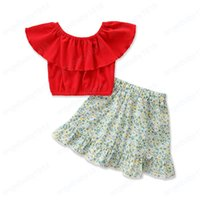 Children Clothing Sets Girls Outfits Baby Clothes Kids Suit Summer Cotton Sweet Tops Blouses Flower Skirt 2Pcs Child