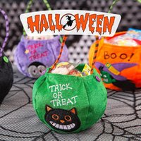 Halloween Party Kids Pumpkin Trick Or Treat Tote Bags Candy Bag Storage Bucket Portable Gift Basket DHF10469