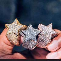 New Hip Hop Chenrui Diamante Micro Set Zircon Cinco apontado Anel de Estrela para homens 515 Z2