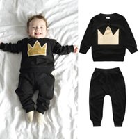 Clothing Sets Fashion Born Infant Baby Boys Girls Sportwear Crown Printed O-Neck Sweatshirts Pullover Winter Tops+Long Pants Outfits Set#g4