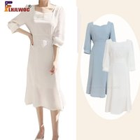 우아한 사무실 숙녀 작업 드레스 한국 패션 의류 나비 넥타이 레이스 업 화이트 기질 레트로 빈티지 드레스 세련된 Flhjlwoc