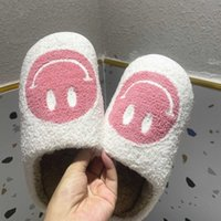 VIP PINK Shoe for Woman Happy Face Slippers of Curly Fluffy Fur Plush Sock Smile Embroidery Indoor Slip-on Flats 211012