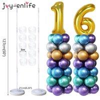 Joy-Enlife 2 conjunto de balão coluna stand kits arco com base de quadro e pólo para decoração de festa de aniversário de casamento suprimentos 210610