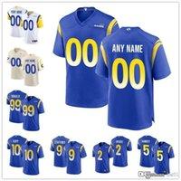 "Personalizado Los Angeles ""Rams"" 99 Aaron Donald 5 Jalen Ramsey 9 Matthew Stafford 10 Desan Jackson 2 Robert Woods Football Jerseys"