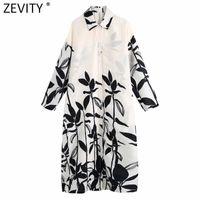 Zevity Women Vintage Position Leaves Print Casual Loose Shirt Dress Female Chic Long Sleeve Vestido Button Kimono Dresses DS8281 210607