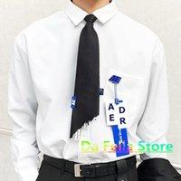 adererror 넥타이 남성 여성 아키텍처 실크 능 직물 목 넥타이 AE 로고 블루 태그 라벨 1 : 1 고품질 한국 패션 스타일