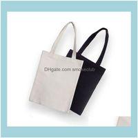 Storage Housekee Organization Home & Gardenblack White Blank Pattern Canvas Shop Bags Eco Reusable Foldable Shoder Handbag Cotton Tote Bag S