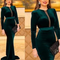Green Velvet Mermaid Evening Dresses Cut-Out Sweep Train Long Sleeves Prom Dress Simple Women Formal Party Gowns