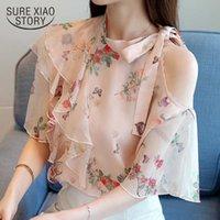 fashion and blouses print pink chiffon blouse shirt summer tops shirts womens clothing blusas femininas 1887 50