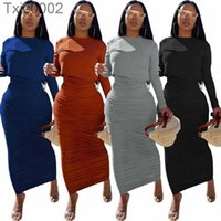Womens Pullover Skirt Set Designer Solid Color Pleated Long Sleeve Round Neck 2piece Vest Dress Suit In Autumn And Winter 4 Colors