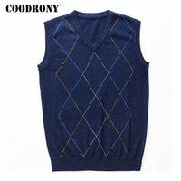 Coodrony Survey Argyle V-образным вырезом без рукавов жилет мужская одежда осень зима новое поступление вязаный кашемир шерстяной свитер жилет 8174 210930