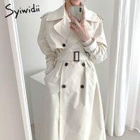 Syiwidii Trench Coat for Women Chapet Winter Ropa de invierno Primavera Larga Moda Coreana Vintage Oficina Lady Cuello de rechazo A-Line 210517