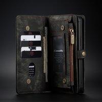 Caseme 2in1 Rétro Portefeuille de portefeuille de portefeuille de portefeuille de téléphone magnétique pour iPhone11 12 pro PROMPAX X XS MAX 7 8 Plus Samsung S21FE S10PLUS Note20 A20 Coque Case
