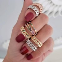 Cluster Rings Fashion Band Ring Open Adjusted Mini Finger Rainbow Colorful Cz Miami Cuban Link Chain Resizable Knuckle