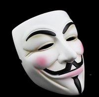 Blanco V máscara Mascarada Eyeliner Halloween Máscaras de la cara de Halloween Party Props VENDETTA Película Anonymous Guy Barco de mar FWA7067