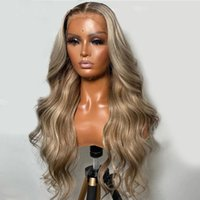 2021 Fashion Ash Blonde Body Wave 13x4 Lace Front Wig Brazilian Human Hair Preplucked Synthetic Wigs For Women With BabyHair Bleached Knots