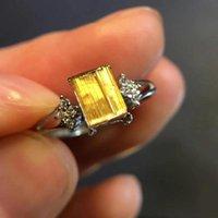 Cluster Rings Natural Gold Rutilated Quartz Women Men Adjustable Ring 925 Silver 7x6mm Rectangle Ball Beads Certificate