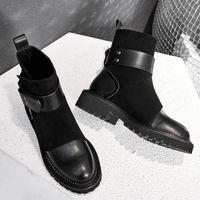 Bottes de ceinture Bottes Design Véritable En Cuir En Cuir Kid Sude femme Chaussures Bottes Femmes Cheville Femelle