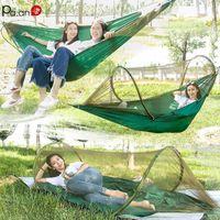 Hammocks Portable Double Hammock Mosquito Net Parachute Outdoor Tent Swing Chair Upgrade Multi-purpose Furniture