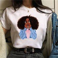Женщины Черные африканские вьющиеся волосы девушка напечатана футболка Femme Harajuku Одежда женских футболок