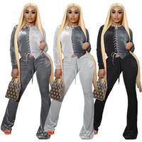Kontrast Renk Kadife Eşofman Kadınlar İki Parçalı Suit Lace Up İpli Uzun Kollu Üst Flare Sweatpant Loungewear Kıyafetler