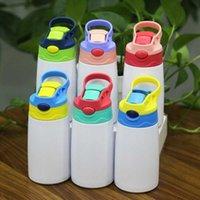 350ml 12oz Sublimação de aço inoxidável copo sippy para crianças portáteis bebendo tumblers sublimação crianças garrafa de água com tampa de palha