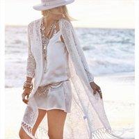 Fringe Lace Kimono Cardigan White Women Shirts Tassels Beach Cover Up Cape Tops Blusa Feminina W4