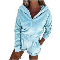 Women's Tracksuits Autumn Fashion 2pcs Sports Clothing Suit Casual Womens Women Zipper Sweater Hoodie Long Sleeve Hoodies+high Waits Shorts
