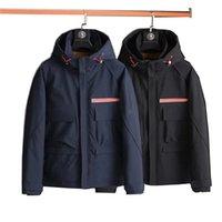 21ss Ceket erkek Açık Sıcak Uzun Kollu Aşağı Ceket Sonbahar Ve Kış Kapüşonlu Kalın Ceket Aşağı Ceketler Metal Mektup Omuz Rozeti Siyah Mavi Parka M-4XL