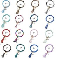 Tassels Keyring Bracelets Party Gifts Wristlet Keychain Bracelet Circle Key Ring Bangle Fashion Chain For Women Multi Colors OWD8670
