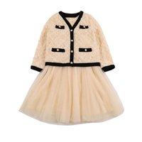 Teenage Girls Outfits Kids Clothing Sets Clothes Children Suit Autumn Cardigan Top Dress Lace Skirt Princess Suits 2pcs B8465
