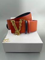 Herren- / Damen-Designer-Gürtel, hochwertiges Leder, schwarz rote Aprikose, Mode Buchstaben Gold- und Silberverschluss 7,0 cm breite Geschenkbox