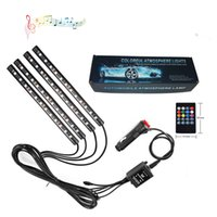 DHL cigarette lighter LED Strips 4 In 1 Car Inside Atmosphere Lamp 48 Interior Decoration Lighting Rgb 16-color Wireless Remote Control 5050 Chip 12v Charge Charming