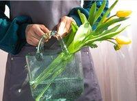 2021 Çanta Vazo Süsleme Oturma Odası Çiçek Düzenleme Cam Şeffaf Net Kırmızı El Sepet Ev Dekoru 006