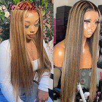 Lace Wigs 30 Inch Highlight Wig Human Hair Honey Blonde Bone Straight Front For Women Ombre Brown Remy