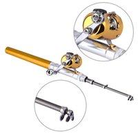 Pocket Telescopic Mini Pole Aluminum Alloy Pen Shape Fishing Rod Combo With Reel Wheel drop shipping