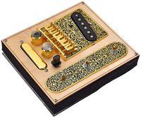 6文字列サドルブリッジプレート、3ウェイスイッチコントロールプレート、フェンダーテレカスターエレクトリックギターの交換部品 - ゴールド