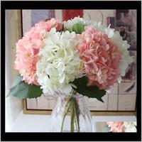 Couronnes décoratives 15 couleurs Fleurs artificielles Hydrangea Bouquet pour Accueil Arrangements de fleurs Mariage Decoration Fournitures CCA11 LPMKZ