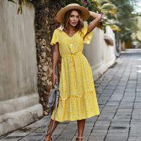 عارضة فساتين vodiu 2021 المرأة بوهو الأزهار كشكش مثير الخامس الرقبة فستان طويل vestidos أصفر فستان الشمس عطلة رداء ل