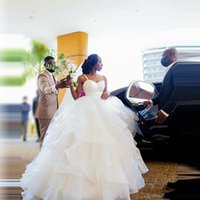 Other Wedding Dresses Extra Puffy Ball Gowns Birdal With Raps Lace Beaded Organza Ruffles Long Aso Ebi Dress