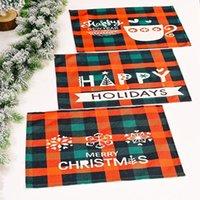 عيد الميلاد منقوشة المفارش الأحمر والأسود تحقق الحصير شجرة ندفة الثلج مكان حصيرة لشتاء عطلة حزب العشاء الجدول الديكور BWB10740