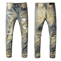 Мужские джинсы мужской американский стиль моды ретро змея вышитые брюки молодежные растягивающие растягивающие патч джинсовые штаны 611
