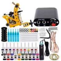 Tattoo Guns Kits Kit Complete Machine Set Black Power Supply 20Pcs Inks Pigment Needles Accessories Lip Filler