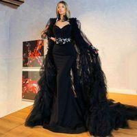 Black Mermaid Evening Dresses With Long Shawl Appliqued Sexy Backless Satin Formal Party Prom Dress For Arabic Women Vestidos De Novia