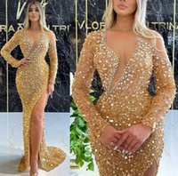 Sexy Gold Sequins Mermaid Prom Dresses For Arabic Women Sheer Long Sleeves Front Split Formal Party Second Receipion Gowns Dress