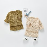 ZHBB INS Korean Baby Kids Boys Girls Sweaters Clothng Sets Long Sleeve Cardigans Shorts 2pieces Suits